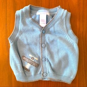 Janie and Jack Layette Blue airplane sweater vest